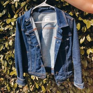 | dark blue denim jacket